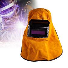 Leather Face Neck Protected Lens Glasses Welding Hood Helmet Mask Overhead 31cm