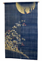 Noren Japanese curtain goodwill Hand dyed Moon Usagi Linen from Kyoto 88 x150cm