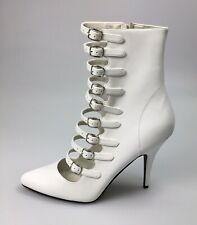 Pleaser Seduce 1048 White Patent High Stiletto Ankle Boots Size UK 10