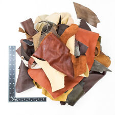 5 Pound Upholstery Mixed Cow hide Scrap Leather Pieces, Mixed Colors and Weights