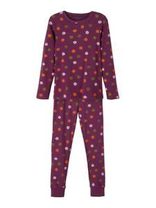 NAME IT Mädchen Pyjama Schlafanzug lila bunt gepunktet Größe 86/92 bis 158/164
