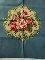 Canvas Floral Flowers Chair Seat Cover VINTAGE 26x30  Blue Pink Green