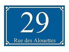 plaque pvc numero de rue ou de maison 150x100mm bleu fonce