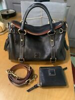 Dooney Bourke Florentine Leather Satchel Midnight Navy & Wallet