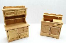 Mini Dreams ~ Kitchen Hutch & Dry Sink Light Wood Dollhouse Furniture ~ New