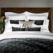 Pratesi Orbite Collection Queen Velvet Quilt Bedspread Dark Grey Made In Italy