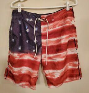 American Eagle American Flag Swim Shorts