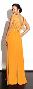 Virgos Lounge Nina V Neck Drape Back Wrap Mustard Maxi Wedding Party Dress 10 38
