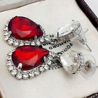 Vintage Style Diamante Ruby Red Dangle Pear Drop Statement Earrings