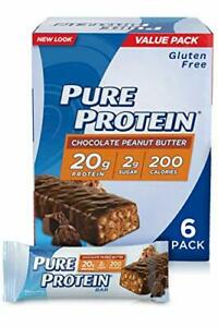 Pure Protein Bars High Protein Gluten Free Chocolate Peanut Butter 1.76oz 6 Pack