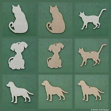 Wooden dog and cat shape blank, mdf and plywood tags for craft embellishment