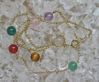 Damen Collier mit Edelsteine aus 333er Gold Länge 42 cm Halskette Ketten Topas