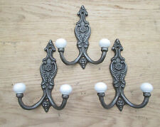 3 X Cast Iron Shabby Chic Ornate Decorative Antique French Coat Hook Ceramic Tip