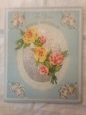 Vintage Wedding Anniversary Roses Lace Bells Ribbons Embossed  Shiny Silver