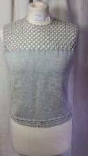 Plata brillante brillante punto tapa del tanque de ganchillo hecho a mano para dama talla 12