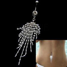 1PC Tassel Rhinestone Crystal Barbells Navel Belly Bar Button  Body Piercing MW