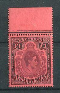 Leeward Islands KGVI 1938-51 £1 purple & black on carmine SG114a/CW13b MNH
