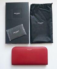 261afb112bd3 New Authentic SAINT LAURENT Paris Red Leather Continental Long Wallet