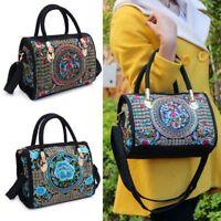 Embroidered Floral Handbag Ethnic Boho Canvas Shopping Tote Zipper Women  Bag