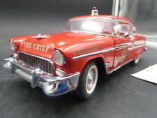 FRANKLIN MINT RED FIRE CHIEF 1955 CHEVY CHEVROLET BEL AIR DIECAST 1/24