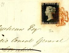 DB786a 1840 GB CLEAR PROFILE Penny Black Plate 1a(CE) Sunderland MX London Cover