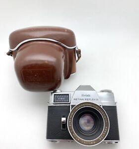 Kodak Retina Reflex III Vintage SLR Camera With Xenon 50mm F:1.9, W/ Case, NICE!