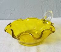Vintage Dark Yellow Glass Nappy with Clear Handle and Ruffled Sides