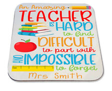 Personalised Printed Coaster christmas gift school amazing teacher quote