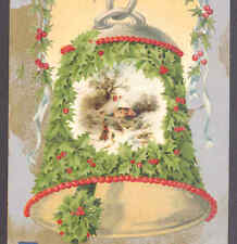 WINSCH HOLLY COVERED CHRISTMAS BELL,LADY WALKS DOG SCENE,VINTAGE POSTCARD