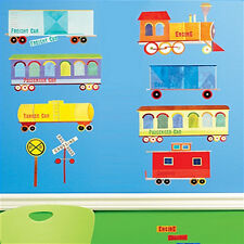 WALLIES TRAINS & SIGNS wall stickers 16 colorful decal engine caboose room decor