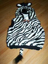 Size 12-24 Months Plush Zebra Halloween Costume Hooded Vest Black White Stripes
