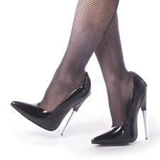 Devious SCREAM-01 Women's Single Soles Black Patent Slip On High Heels Shoes