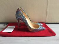 Receipt+Christian Louboutin Pigalle 100 Glitter Shoes UK5/EU38 Worn 2 SOLD OUT !
