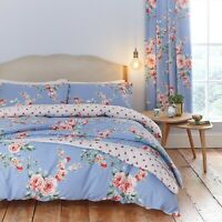 Catherine Lansfield Canterbury Reversible Blue Floral Duvet Cover Bedding Set
