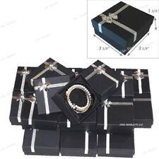 LOT OF (48) BLACK BRACELET BOXES BANGLE BOX w/BOW TIE WHOLESALE JEWELRY BOXES