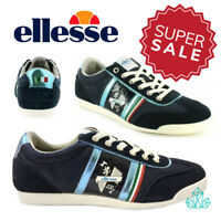 Mens Ellesse Trainers Ambrogio 59 Low Top Sports Navy Blue Suede Italian Shoes