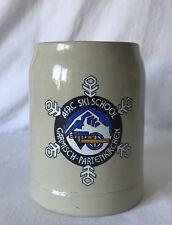 """BEER STEIN / MUG AFRC Ski School Garmisch-Partenkirchen 0.5l 5.5"""" West Germany"""