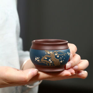 master cup handmade floral relief Chinese kungfu tea cup 125ml marked zisha cup