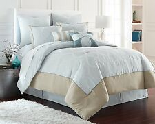 Elegant 8 Piece Embroidered   Bedding Comforter Set Color Aqua New.