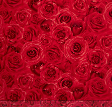 Timeless Treasures Glamour - Packed Roses Red 100% cotton fabric by the yard