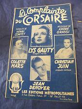 Partition La complainte du corsaire Lys Gauty Juin Mars Denoyer 1946 Music Sheet