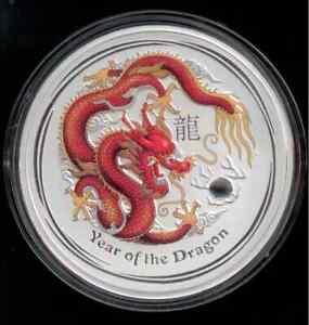 Dragon / Drache Lunar II 2012, 1 kg Silber PP Gremstone Edition, No. 0070