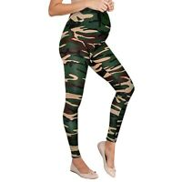 Women Maternity Leggings Seamless Camouflage Pants Stretch Pregnancy Trousers ED