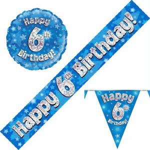 6th Birthday Pennants Flags Banners Balloons Blue Party Decorations Age 6 Boy