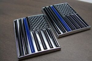 (2) THIN BLUE LINE AMERICAN FLAG POLICE 3D EMBLEM STICKER BADGE LOGO DECAL