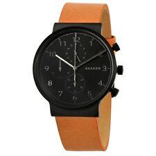 Skagen Ancher Cronografo Quadrante Nero pelle Marrone Orologio da Uomo - SKW6359