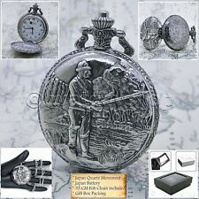 Gift with Fob Chain Gift Box P229 Fishing Silver Pocket Watch Size 47 Mm Men
