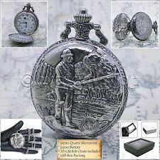 Silver Pocket Watch FISHING design Men 47 MM Fob Curb Chain and Gift Box P229