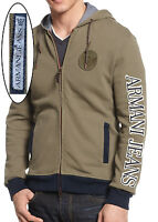 NWT Armani Jeans Two-way Leather-Zipper-Pull Hoodie Slim Fit Jacket