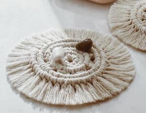 Cotton Braid Macrame coaster Cup Mat Table Placemat Boho Handmade Woven Crochet